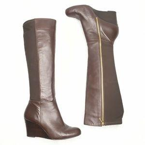 Michael Michael Kors Boot Wedge Heel Brown Leather